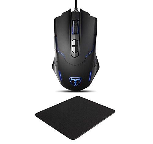 Holife 056 Gaming Maus mit Mauspad (3mm Dicke) Programmierbare USB-Wired Maus ( Mousepad 7200 DPI,Programmierbare 7 Tasten,1.8M USB Kabel) Schwarz