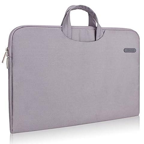 Zikee 15-15,6 Zoll wasserfeste und 360° stoßfeste Aktentaschen als Schutz für Ihren Laptop/Notebook mit Handgriff (Grau)
