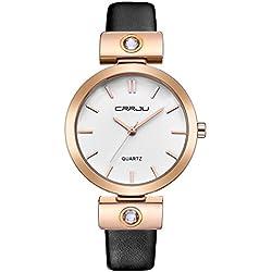 OUMOSI Simple Luxury Ladies Fashion with Leather Strap Analog Quartz Wrist Watch