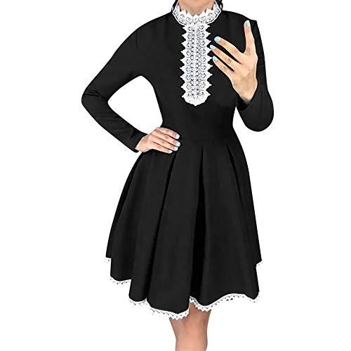 Xmiral Damen Langarm Patchwork Spitzenkleid Casual Häkelspitze A Line Mini Kleid Kostüm für Rollenspiel, Mottoparty(L,Schwarz)
