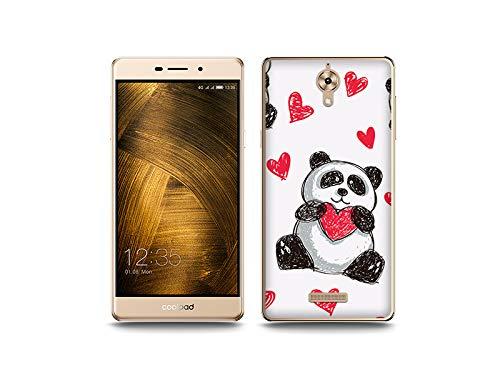 etuo Handyhülle für Coolpad Modena 2 - Hülle, Silikon, Gummi Schutzhülle - Panda mit Herz