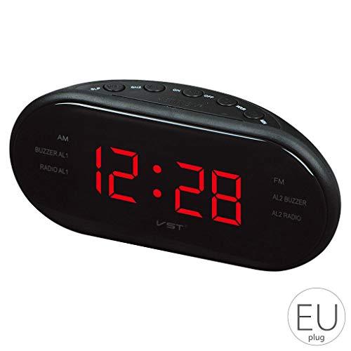 Mengonee AM/FM-LED-Uhr elektronischer Desktop-Wecker Digital-Tabellen-Radio-Geschenk Home Office Supplies EU-Stecker