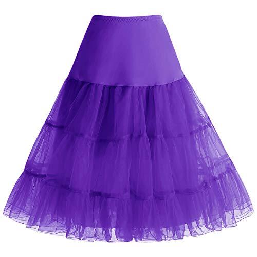 bbonlinedress Organza 50s Vintage Rockabilly Petticoat Underskirt Purple XL -