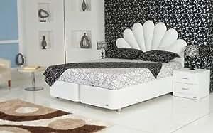 Lit-coffre adulte design LAORA Crème 140 x 200 cm