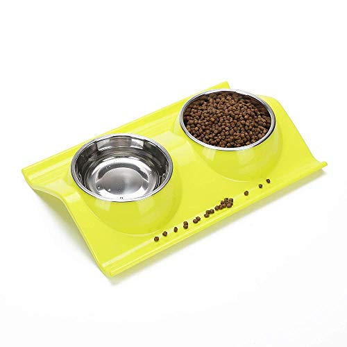 WINNER POP Edelstahl-Futternapf, Doppel-Napf-Design, rutschfestes Design, geeignet für Trinkbrunnen für Hunde und Katzen -
