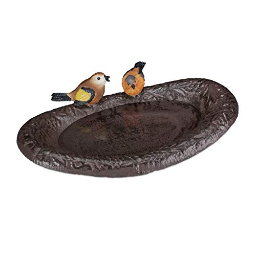 Relaxdays Gusseisen Vogeltränke mit Vogel, Gartendeko, Vogelfutterstelle, Wasserschale für Wildvögel, 24 cm breit, braun -