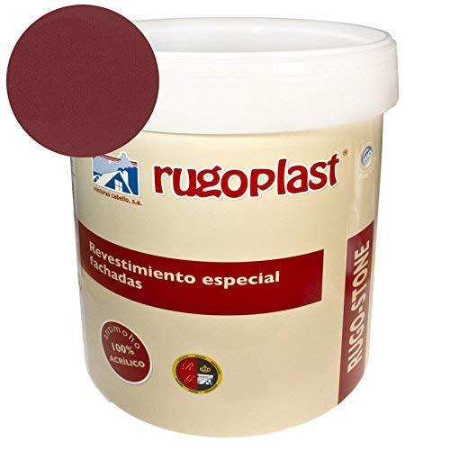 Rugoplast - Pintura revestimiento especial fachadas Rugo Stone Colores ideal para dar un toque de color a las paredes exteriores de tu casa, Rojo Teja