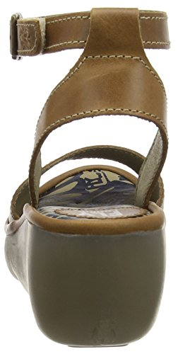 FLY London BIBI612FLY, Sandales Compensées femme Marron (Rug Camel)