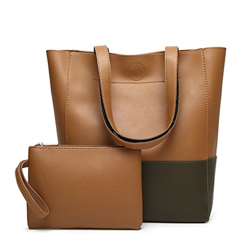 Lässige Mode Dame große Handtasche Messenger Tasche Geldbörse JYJMFrauen Hit Farbe Umhängetasche Schultertasche Messenger Umhängetasche Braun