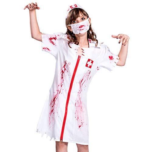 TINGSHOP Zombie-Krankenschwester-Kostüm, Kleid Mit Blutflecken Für Erwachsene, Maske Und Kopfbedeckung, National Horror Service, Halloween-Kleider Weihnachtskarneval Rollenspiel-Party - Sexy Blutige Kleid Zombie Kostüm