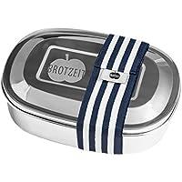 Preisvergleich für erdbeerloft Brotzeit- Lunchbox Brotdose UNO Edelstahl mit Band gestreift, Geschenk Schulanfang, 16x11x4cm, Blau