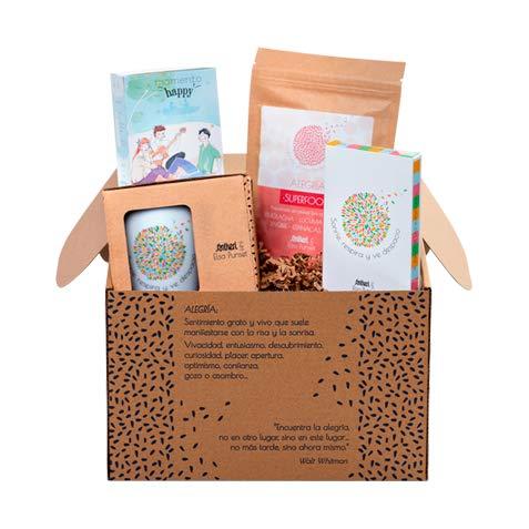 Kit Alegría de Santiveri by Elsa Punset: Original regalo que contiene el Suplemento Alimenticio Superfood Alegría, un Té Verde Bio de Santiveri,una Taza Inspiradora y el Juego de las Emociones