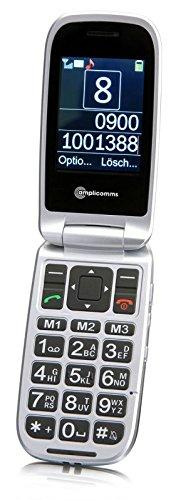 amplicomms PowerTel M7510-3G Extra laut einstellbares Klapphandy mit Notruftaste, Bluetooth schwarz