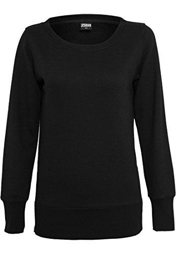 Urban Classics Ladies Side Zip Long Crewneck, Pull Femme Schwarz (Black 00007)