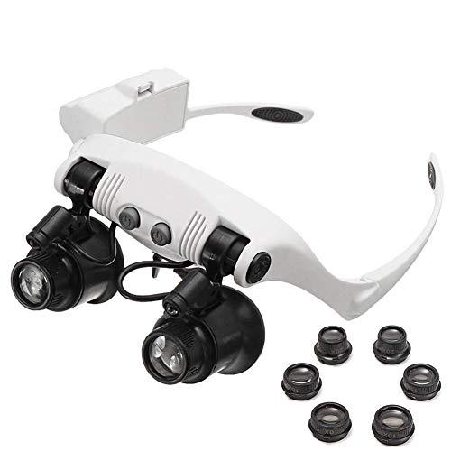 Fangfang GAO Lupe 2 LED-Licht lesen Lupen-Stirnband, acht optische Linse Lupenbrille, Spezialleiterplatte Service Diamant Schmuck Identifikation