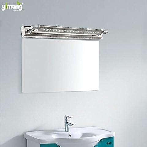 XiangMing Llevado ante el espejo de cristal luz minimalista moderno baño baño de luz Light ensalada verde espejo vestidor armario con espejo, la lámpara se enciende una lámpara de pared 6004 máscaras plana ,47CM