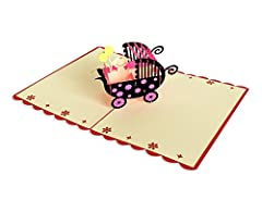 Idea Regalo - YOKARTA 3D Pop Up per la nascita della figlia o del figlio | Biglietto auguri nascita originale con busta combinata | Biglietto ringraziamento nascita bimbo | Biglietto nascita per auguri I Biglietto invito Baby Shower | biglietto Kirigami tagliato al laser I Motivi differenti 1 pezzo