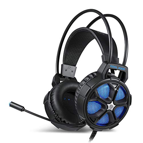 Gaming Headset für PS4 Xbox One PC Mac Controller Gaming Kopfhörer mit Kristall Stereo Bass Surround Sound, LED Licht & Geräuschisolierung Mikrofon Blau blau