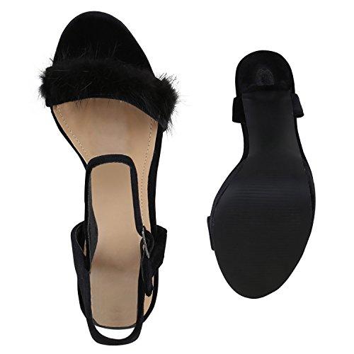 Damen Plateau Sandaletten | Peeptoes Party Schuhe | Pumps Blockabsatz High Heels |Satin Samt Strass Fransen Schwarz Black
