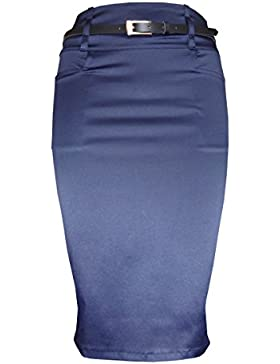 Falda de tubo de satín por encima de la rodilla, con bolsillos, color negro y azul marino, tallas 38-50 (8-18...