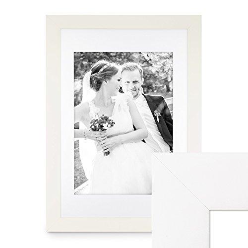 PHOTOLINI Bilderrahmen 40x60 cm Weiss Modern Breit aus MDF mit Passepartout (30x45 cm) u....