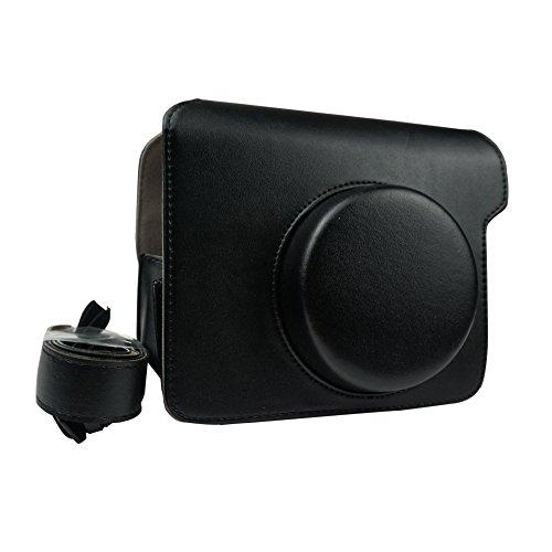 Alohallo Cuoio dell'unità di elaborazione di Instax Wide 300 con la cinghia di spalla per Fujifilm Instax Wide 300 macchina fotografica istantanea di pellicola - Nero