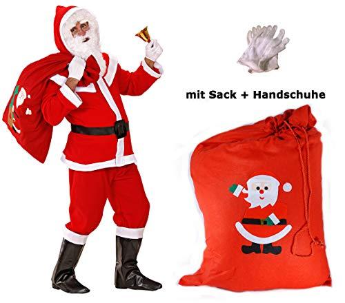 Scherzwelt Flanell Santa Claus Kostüm komplett Weihnachtsmannkostüm M/L + Handschuhe + Sack Weihnachten (Flanell Santa Kostüm)