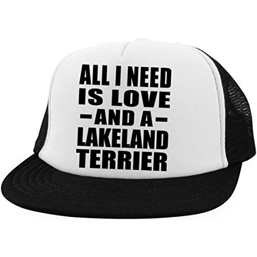 All I Need is Love and A Lakeland Terrier - Trucker Hat Fernfahrer-Kappe Golfkappe Baseballkappe - Geschenk zum Geburtstag Jahrestag Muttertag Vatertag Ostern Lakeland Cap