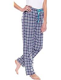 Moonline wunderschöne gewebte Damen-Hose Schlafanzughose im garngefärbten Karodesign mit Tunnelbund und Satin-Band