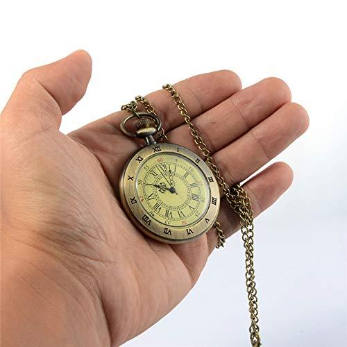 LDPLFHB Männer Frauen Vintage Taschenuhr Römische Ziffern Fob WatchGlass Dial Halskette Anhänger Uhrzeit mit Kette