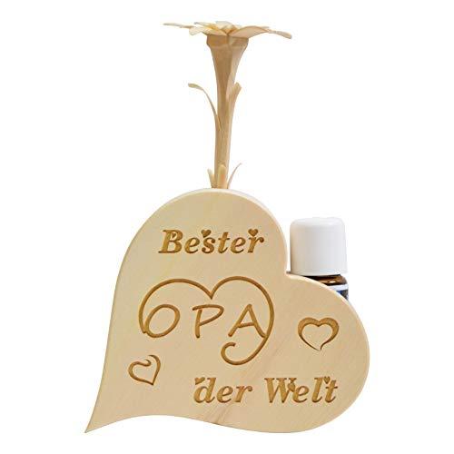 sagl.Tirol Set de Parfum de pin en Forme de cœur avec pin sculpté à la Main et Huile de pin Bio 10 ML