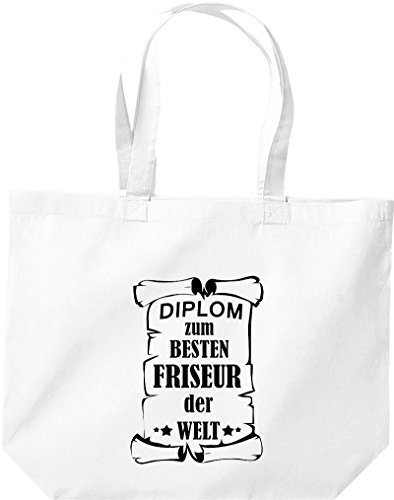shirtstown grande borsa della spesa, diplom PER MIGLIOR PARRUCCHIERE DEL MONDO Bianco
