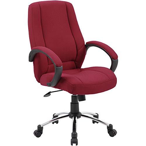 Certeo Komfort-Bürostuhl mit hoher Rückenlehne, weinrot - Stoffdrehstuhl mit gepolsterten Armlehnen - Eleganter Bürostuhl mit Leichtlaufrollen