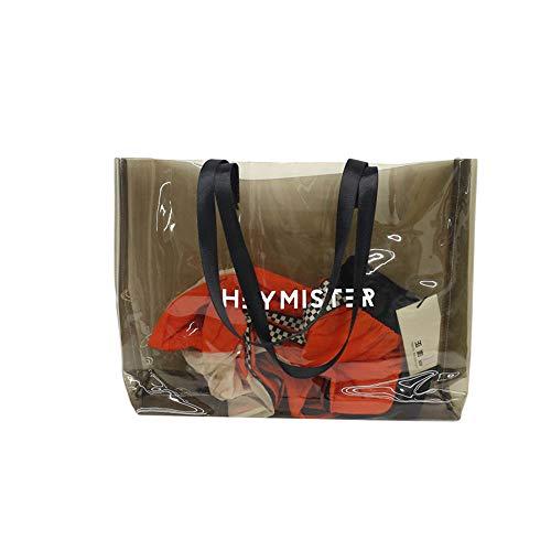 JBAG-one Transparente PVC-Handtasche, Strand Umhängetasche, Frauen Tote, große Kapazität Gelee Farbe Kunststoff klar Tasche,Brown