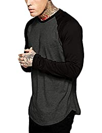 BUSIM Men's Long Sleeved Shirt Fashion Men's Autumn Winter Casual Stitching Round Neck Slim Trend Personality...