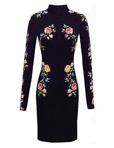 PU&PU fleur haute cou impression moulante robe à manches longues des femmes black-s