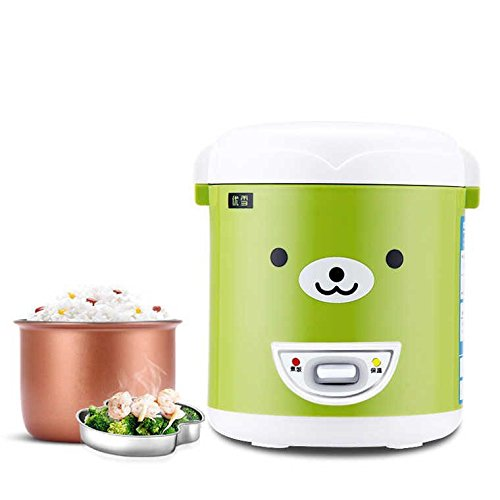 Mini cuiseur à riz (1.0 litre), cuisson, chauffage, chauffage, plat, avec plaque de vapeur, Mini et portable Peut être utilisé comme Boîte à lunch Green