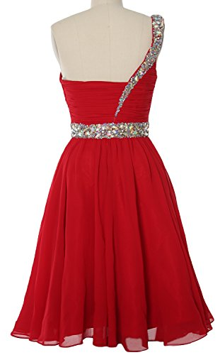 MACloth Women One Shoulder Crystal Chiffon Short Prom Gown Cocktail Party Dress Weiß