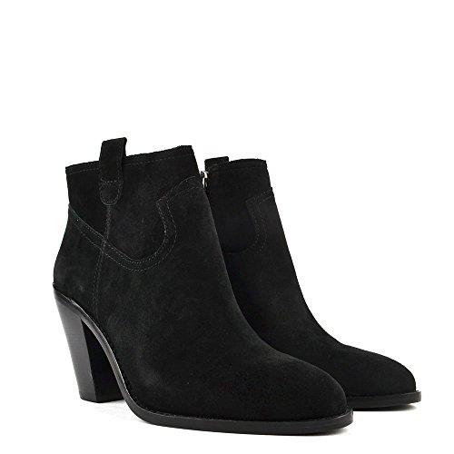 Ash Ivana Boots a Talon en Daim Noir Femme Noir