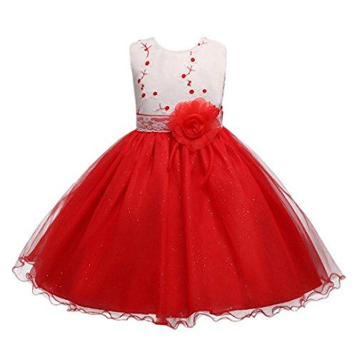 ❤️Kobay Kinder Baby Mädchen Blumen Geburtstag Hochzeit Brautjungfer-Festzug Prinzessin Abendkleid (110/4-5Jahr, Rot-1)