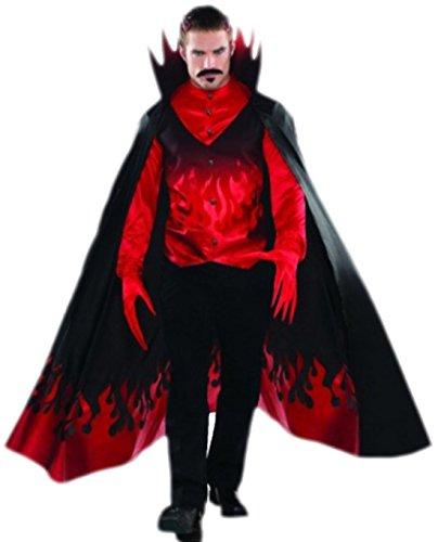 Fancy Ole - Herren Männer Teufel Diablo Kostüm mit Hemd Weste Umhang und Handschuhen, 2XL, - Diablo Kostüm