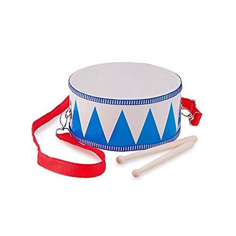 New Classic Toys - 10358 - Percussion - Tambour De Fanfare En Bois - Blanc/Bleu