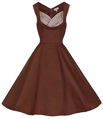 Lindy Bop 'Ophelia' 1950 Vintage Prom Robe Trapèze (36, Chocolat)