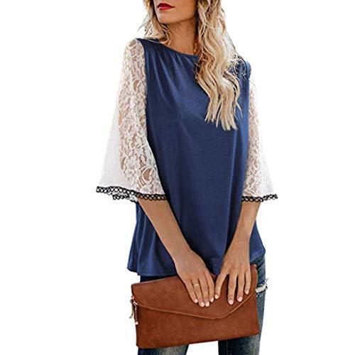 Damen Spitze Oberteile 3/4 Ärmel Bluse Langarm Spitzen Hemd V-Ausschnitt Top Patchwork Elegante Tunika Frauen Casual Locker Sweatshirt Pullover Lonshell (Blau Karierte Party Supplies)