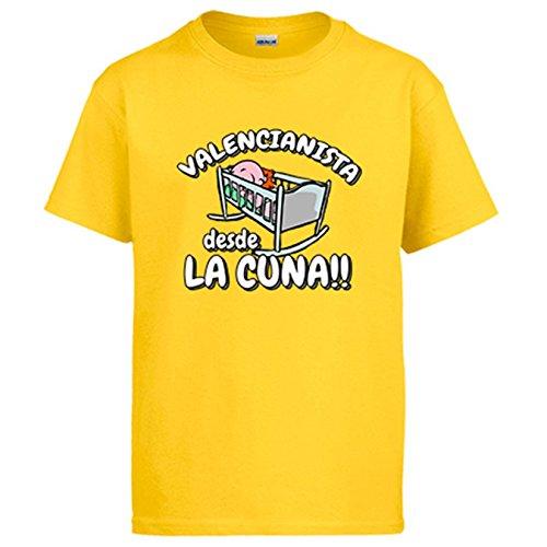 Diver Camisetas Camiseta Valencianista Desde la Cuna Valencia fútbol - Amarillo, 3-4 años