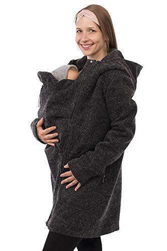 Viva la Mama - Umstandsjacke Winter Jacke mit Babytrageeinsatz warm Kängurujacke Babytragen - Valentin - anthrazit - L