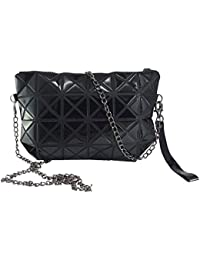 Stylish And Trendy Bag By Tiny Treasure | Sling Bag Cum Hand Pouch | Foldable Bag, Glossy Black Look.