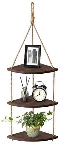 Mkouo Hängend Ecke Regal 3 Tier Jute-Seil Holz Wand Schwimmende Regale Rustic Organizer Displays Storage Rack Home Decor for Living Room Bedroom Bathroom Kitchen, Dark Brown - Wand Regal Home Decor