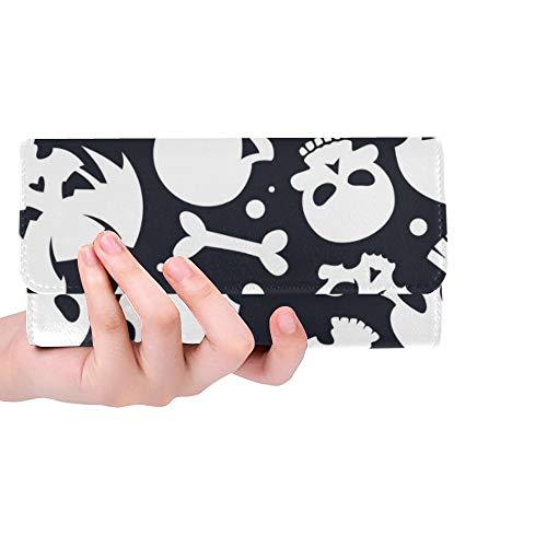 Einzigartige Custom Collection White Skulls auf dunkle Frauen Trifold Wallet Lange Geldbörse Kreditkarteninhaber Fall Handtasche (Tasche Dekorationen Von Knochen)