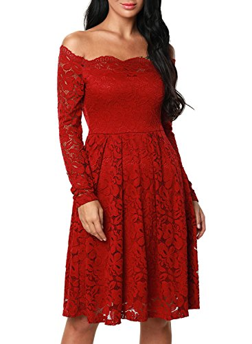 ACHICGIRL Women's Long Sleeve Floral Lace Boat Neck Cocktail Swing Dress Red